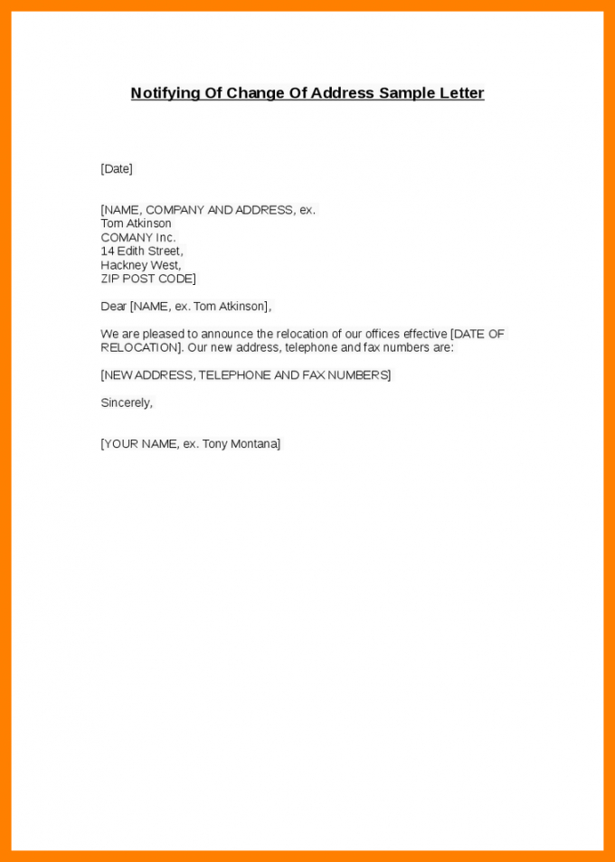 change of address notice template