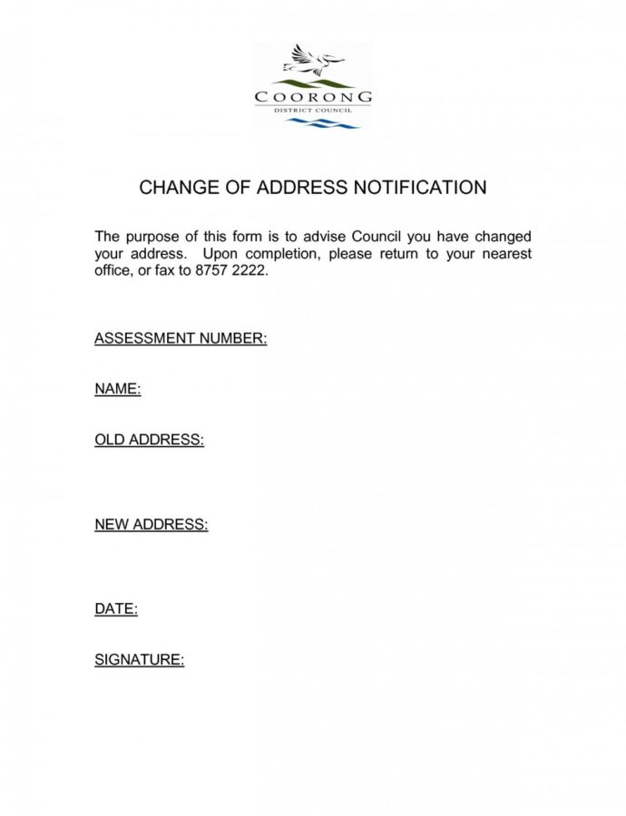 Change Of Address Notice Template 0  Fabulousfloridakeys Change Of Address Notice Template Sample