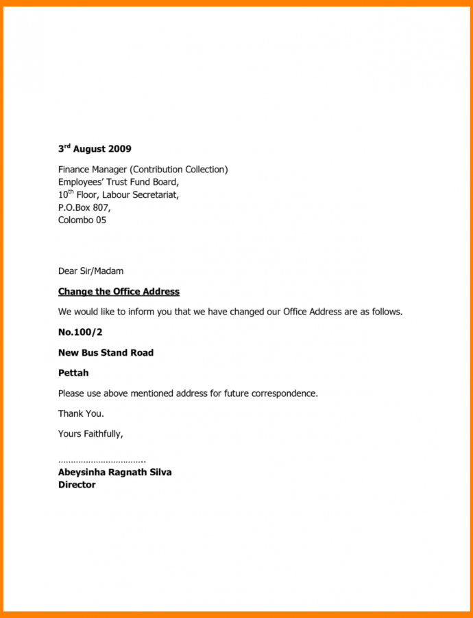 Costume Change Of Address Notice Template 11  Fabulousfloridakeys Change Of Address Notice Template Example