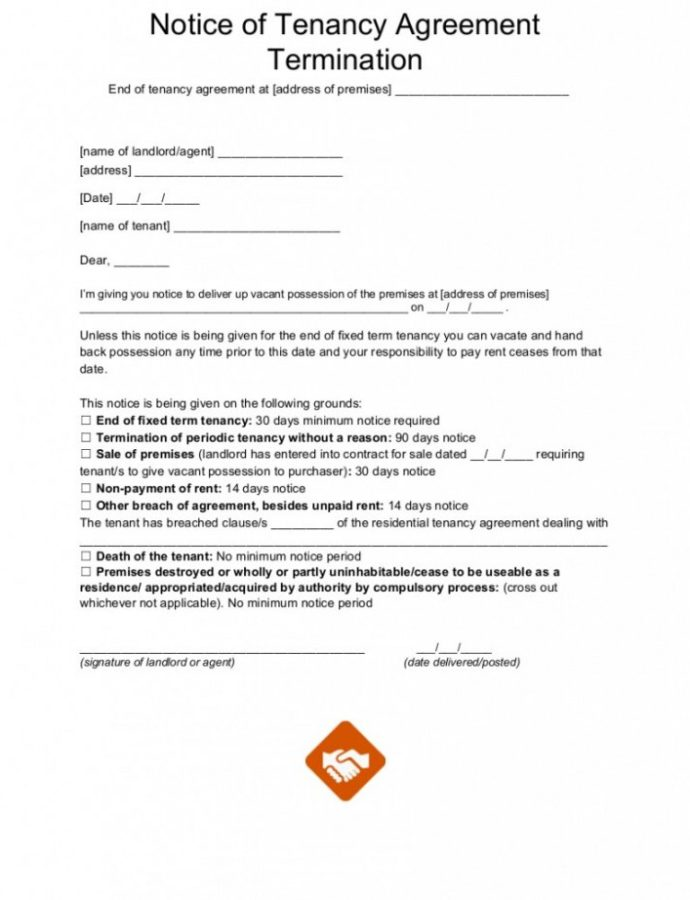 Costume End Of Tenancy Letter Templates Notice Lease Termination From Private Landlord Eviction Notice Template Doc
