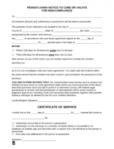 costume free pennsylvania 1530 day notice to quit  noncompliance  pdf 15 day eviction notice template word