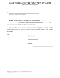 costume idaho 3day notice to quit form  nonpayment of rent  eforms 3 day notice to pay or vacate template word