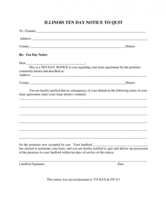 Costume Illinois 10Day Notice To Quit Form  Noncompliance  Eforms  Free 10 Day Eviction Notice Template PDF