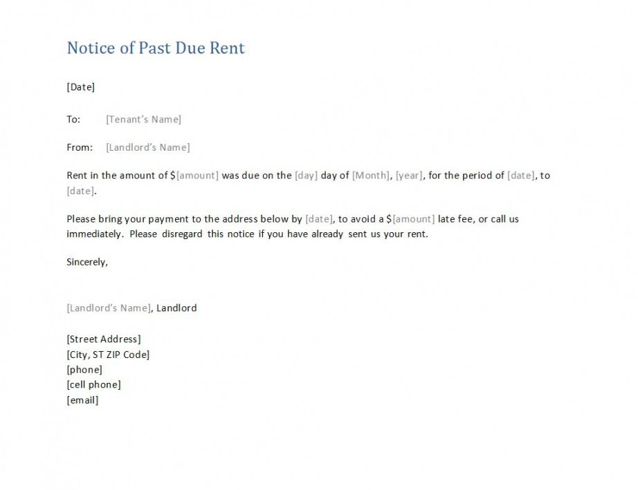 costume late rent notice  template business late rent payment notice template word