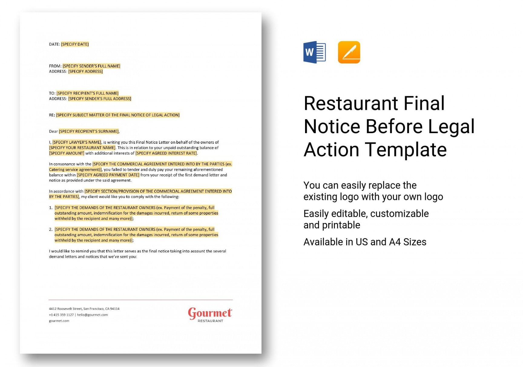 costume restaurant final notice before legal action template in word apple legal notice template sample