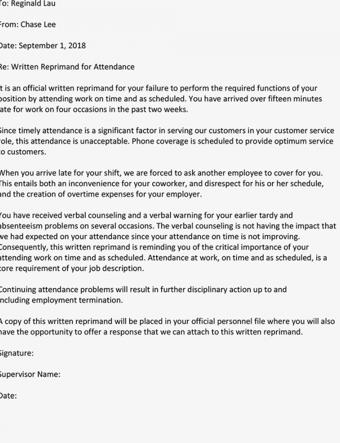 Costume Written Reprimand Sample For Employee Attendance Personnel Action Notice Template Example