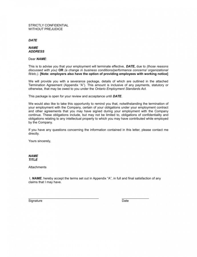 Editable 9 Examples Of Employee Termination Letter Template  Pdf Word Employment Separation Notice Template Example