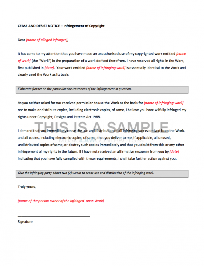 Editable Cease And Desist Letter Copyright Infringement Notice Template