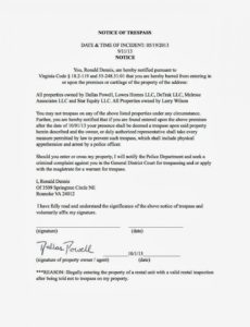 editable cease and desist trespassing letter template samples  letter cover barring notice template sample