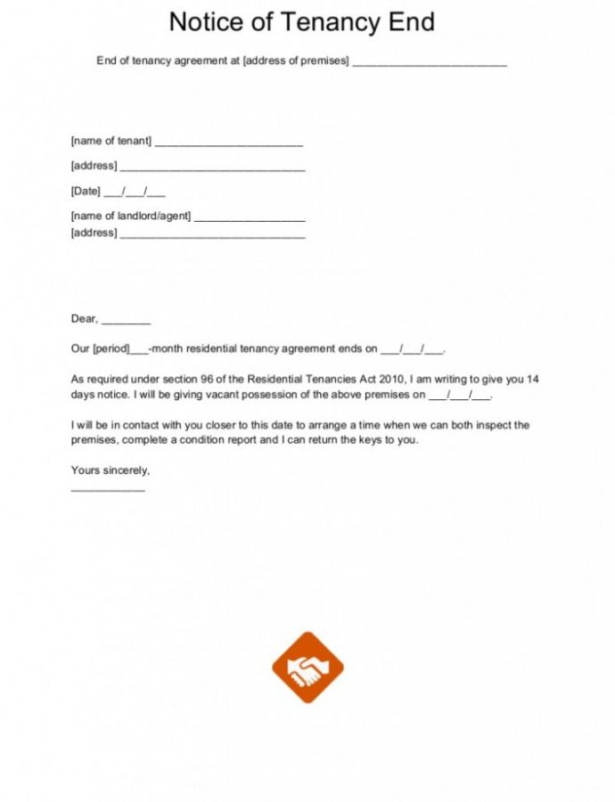 Editable End Of Tenancy Letter Templates Notice Of Termination Lease Template PDF
