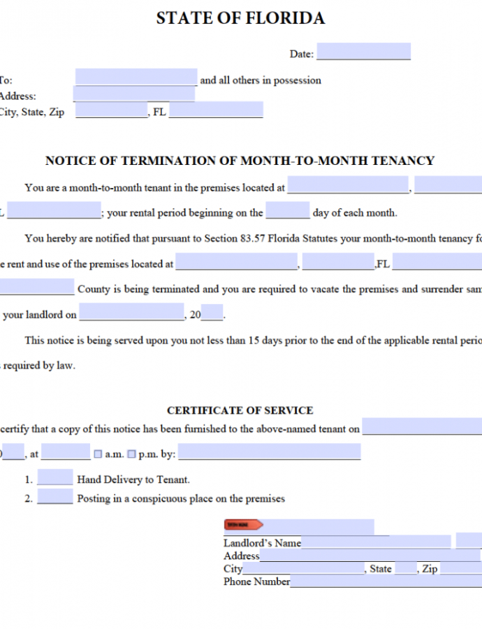 Editable Free Florida 15 Day Notice To Quit  Month To Month Tenancy  Pdf 15 Day Eviction Notice Template PDF