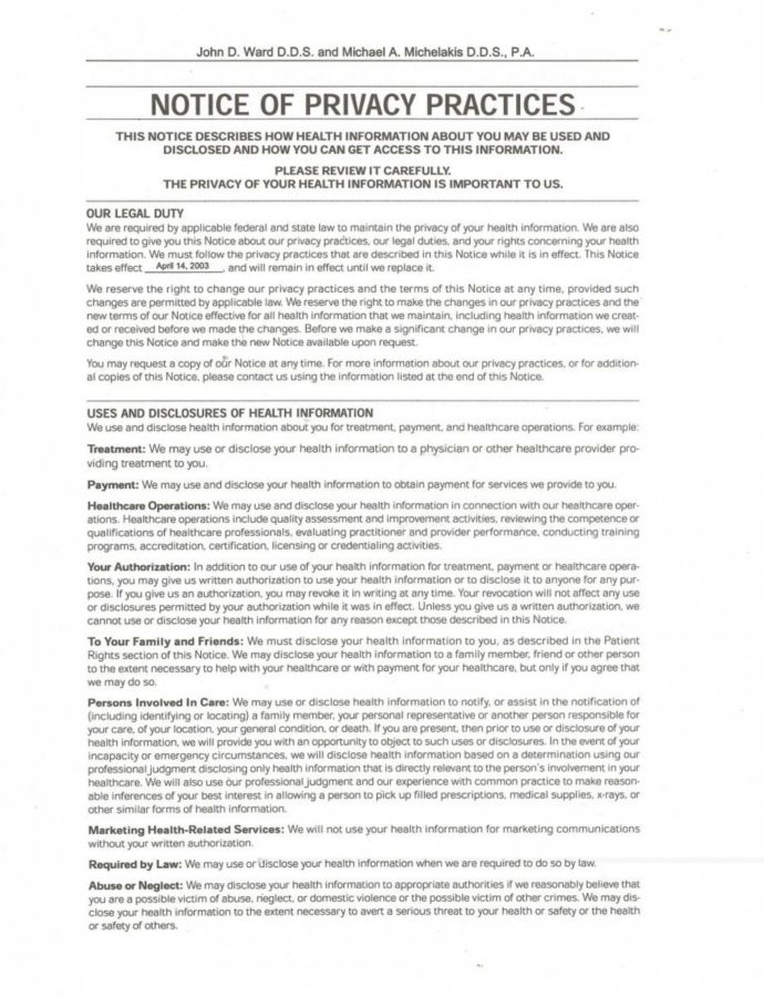 Editable Hipaa Privacy Statement Template And Notice Privacy Practices Form Notice Of Privacy Practices Template Example