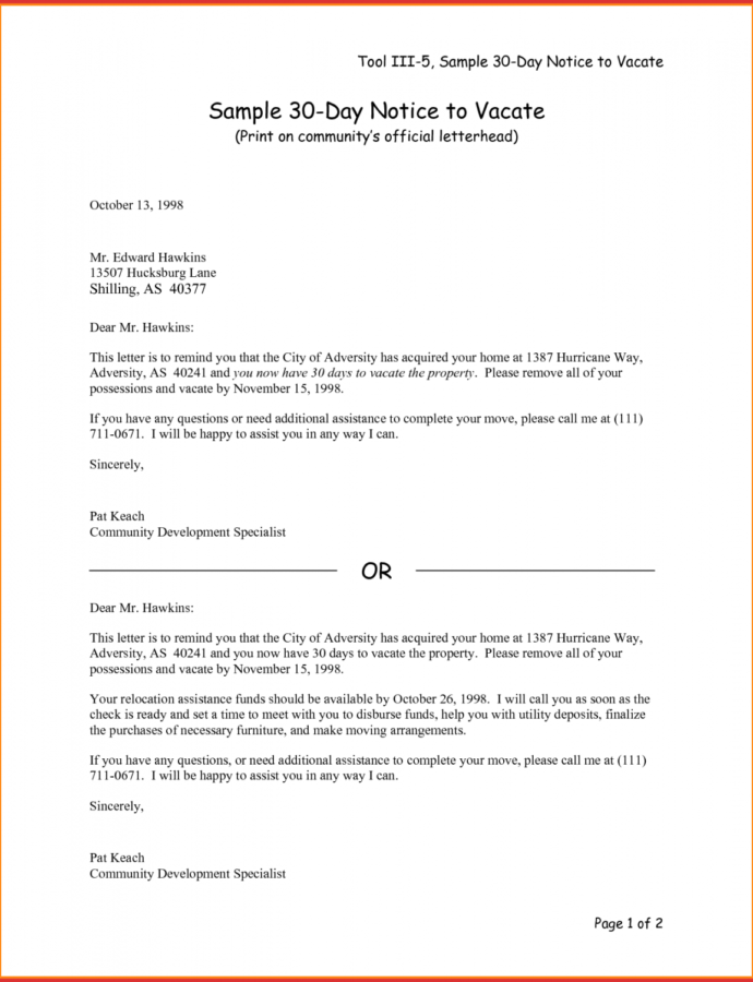 Editable Lovely 30 Day Notice To Vacate Letter Template  Job Latter 30 Day Notice To Vacate Letter Template Example
