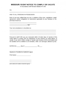editable missouri 10day notice to quit form  noncompliance  eforms  free 10 day eviction notice template example