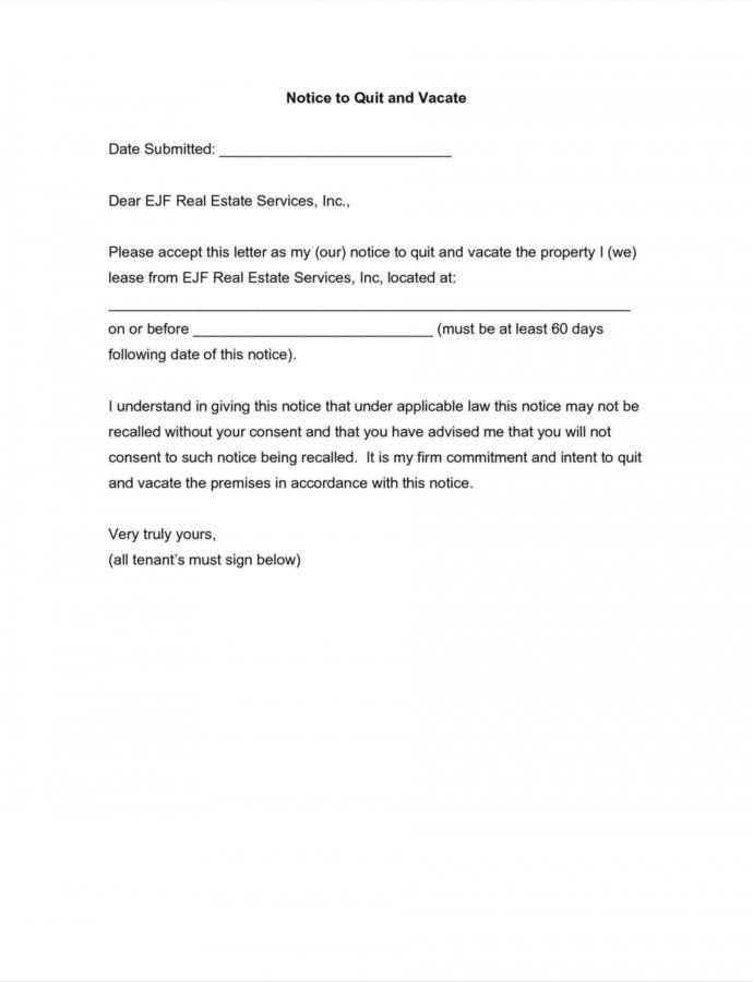 Editable Notice To Vacate Apartment Letter Template Samples  Letter Cover Written Notice To Vacate Apartment Template Example