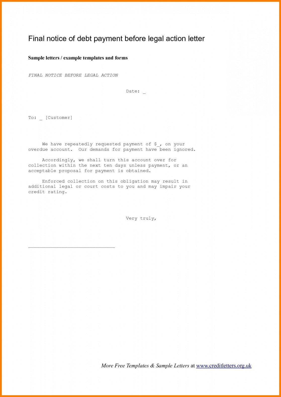 Final Notice Letter Before Legal Action from cashbackdiscountrealestate.com