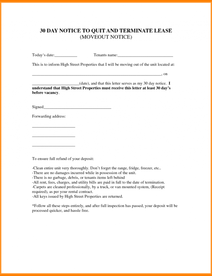 Free 010 Day Notice To Vacate Sample Letter Move Out Template 487169 30 Day Notice To Vacate Letter Template Example