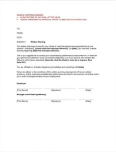 free 9 first and second warning letter templates  free pdf word excel employee warning notice template