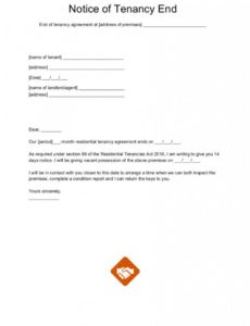 free end of tenancy letter templates written notice of termination of lease template sample