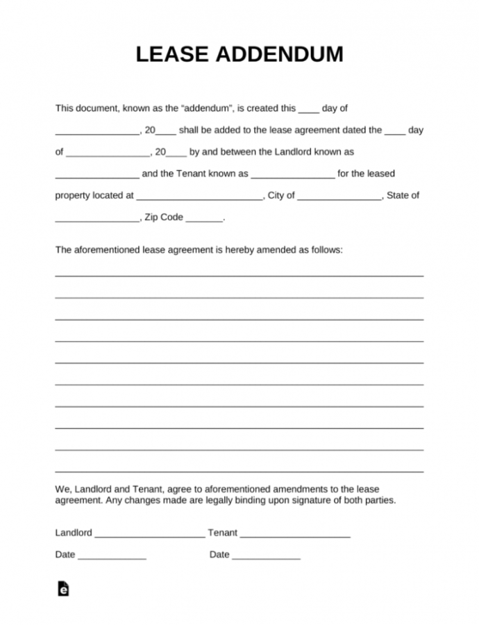 Free Free Lease Addendum Templates  Pdf  Word  Eforms  Free Fillable Notice To Remove Personal Property Template Example