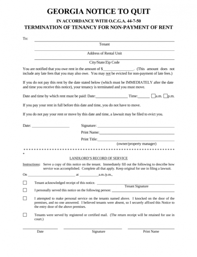 Free Georgia Immediate Notice To Quit  Nonpayment Of Rent  Eforms Unconditional Quit Notice Template Doc