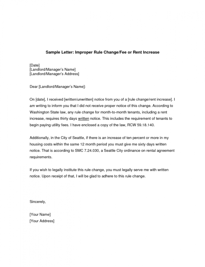 Free Rent Increase Letter  Gplusnick Notice Of Rent Increase Template Word