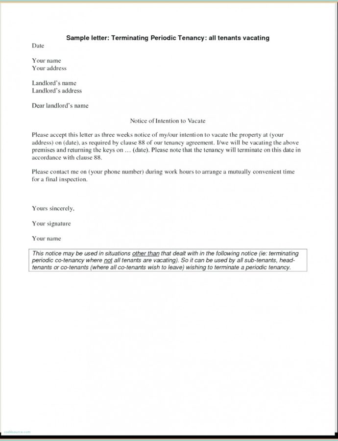 Free Tenant Eviction Notice Letter Template  Verypageco Tenancy Notice Letter Template From Landlord Example