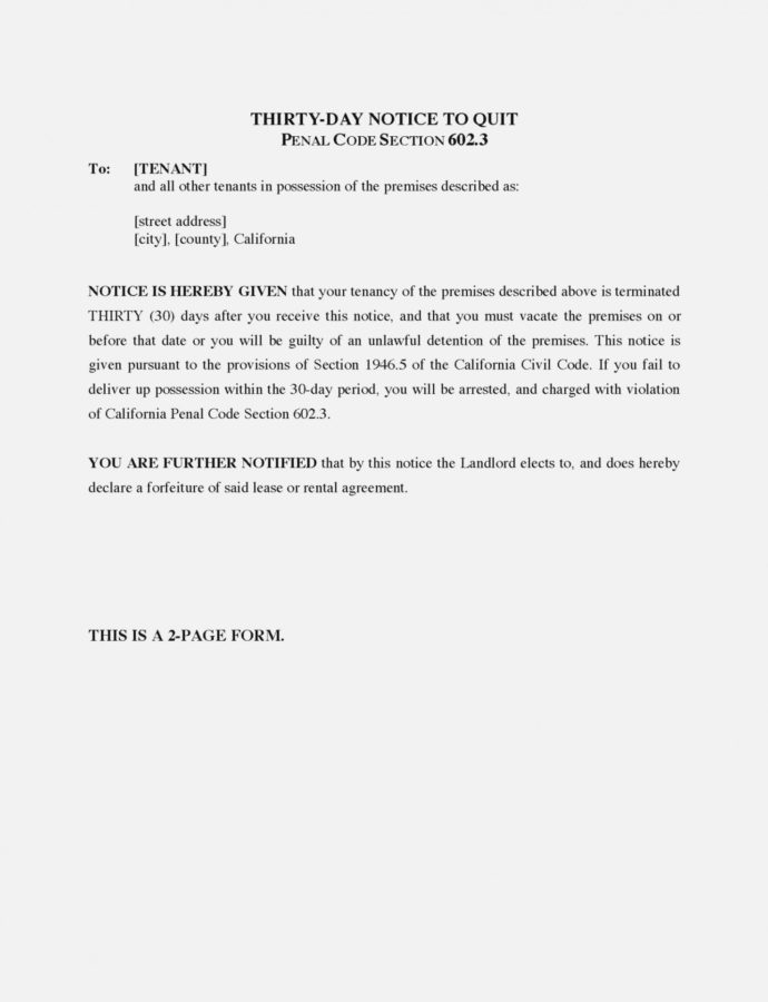 Free Termination Letter For Tenant From Landlord Notice To Terminate Of 30 Day Notice Lease Termination Letter Template