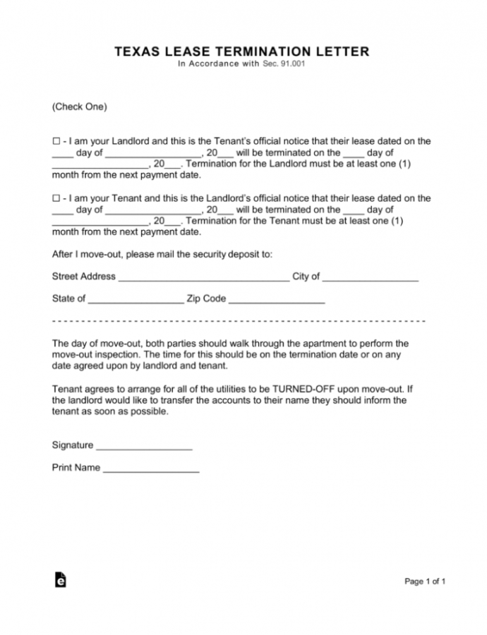 Free Texas Lease Termination Letter Form  30Day Notice  Eforms  Free 30 Day Notice Lease Termination Letter Template Sample