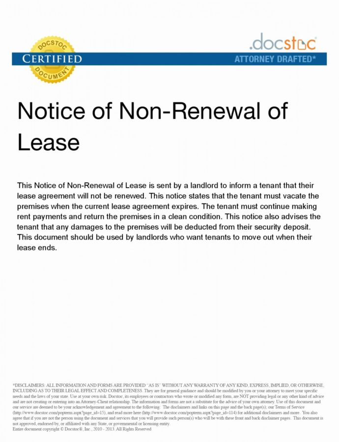 Nonrenewal Of Lease Letter Template Samples  Letter Template Collection Notice Of Nonrenewal Of Lease By Tenant Template PDF