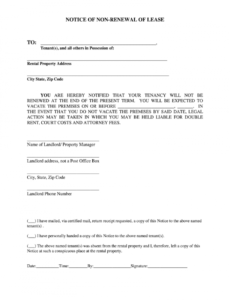 notice of lease non renewal template free  fill online printable notice of nonrenewal of lease by tenant template