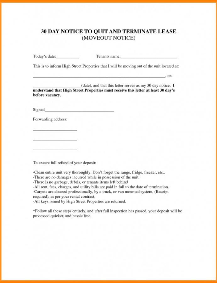 Printable 020 Day Notice Template Ideas To Vacate Sample Letter Move Out 30 Day Notice To Roommate Template Doc