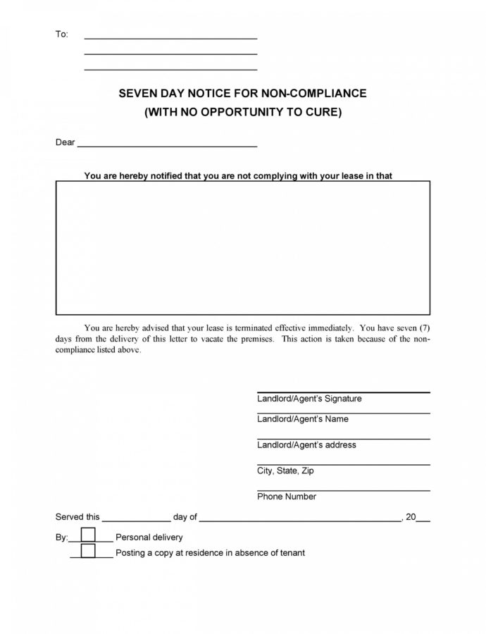 Printable 8 30 Day Eviction Notice Form Template  Fabulousfloridakeys Commercial Eviction Notice Template