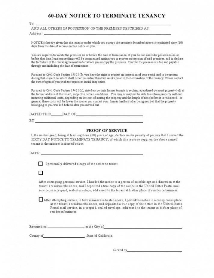 printable free california 60 day notice to vacate form as of 2013  pdf 60 day lease termination notice template sample