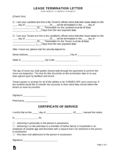 printable lease termination letters  30day notice to quit for landlords and notice of termination lease template