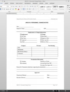 printable personnel change notice template  hrg1013 payroll change notice form template word