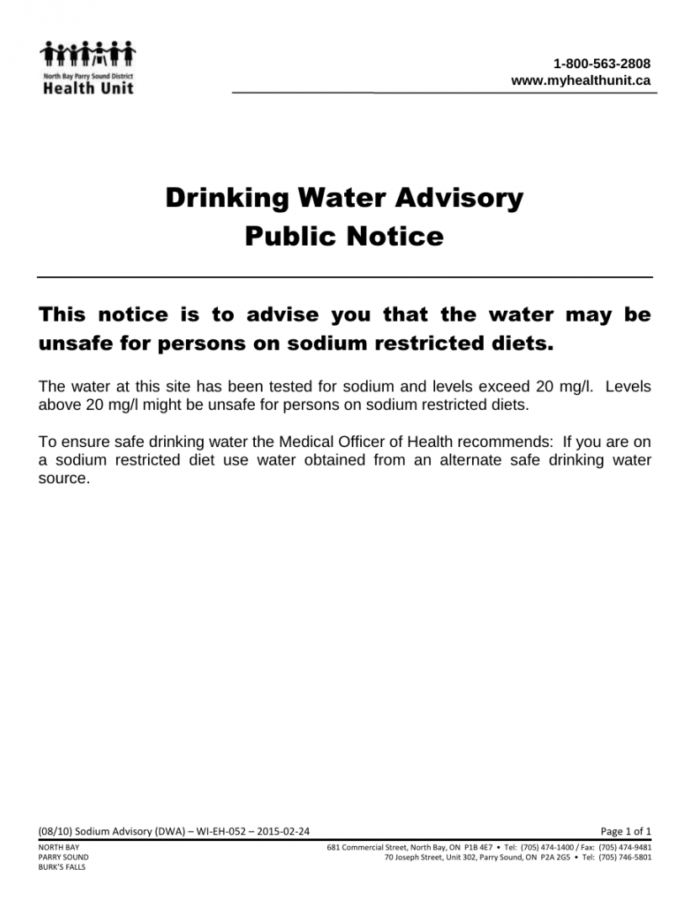 Printable Water Department  Community Services  The Village Of South River Water Shut Off Notice Template
