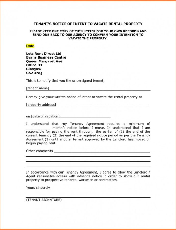 Tenant Notice To Quit Template 34 Vacate Letter From Property Tenancy Notice Letter Template From Landlord