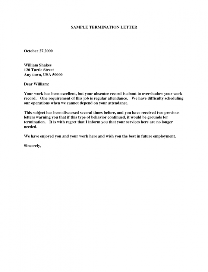19 Termination Letter Samples  Writing Letters Formats Notice Of Termination Of Employment Template Example