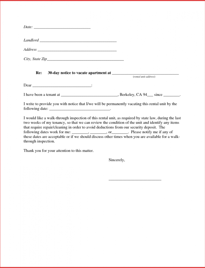 30 Day Apartment Notice  Ewrs2018 30 Day Notice To Move Template Sample
