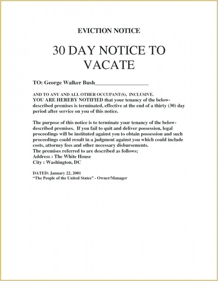 30 day notice letter to landlord  giftedpaperco 30 day notice to vacate letter to tenant template doc