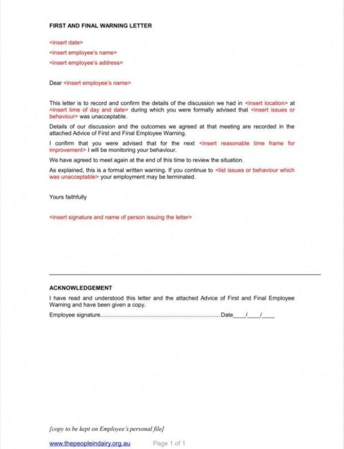8 Sample Final Warning Letters Free Samples Examples Template For Employee Warning Notice Example