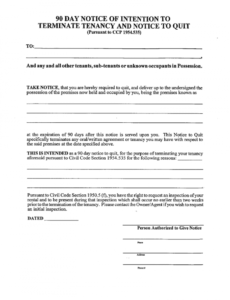 90 day notice to terminate tenancy  fill online printable 90 day notice letter template pdf