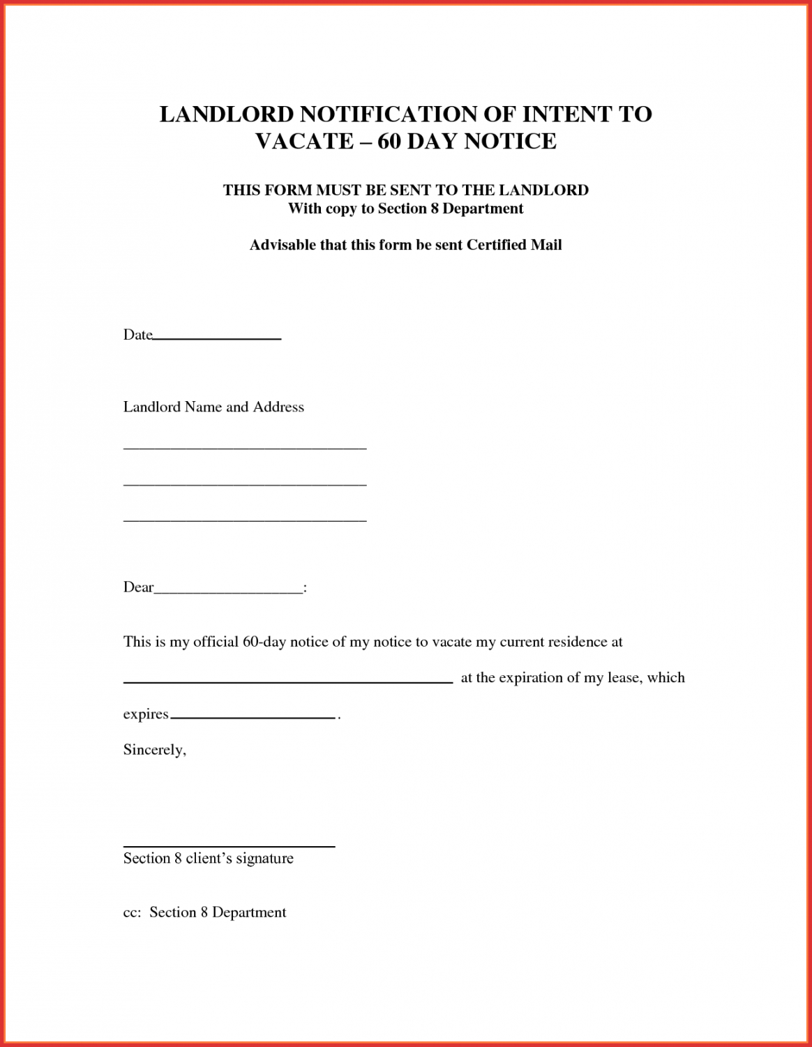 best of 30 day notice letter to landlord template  job latter 30 day written notice to vacate template example