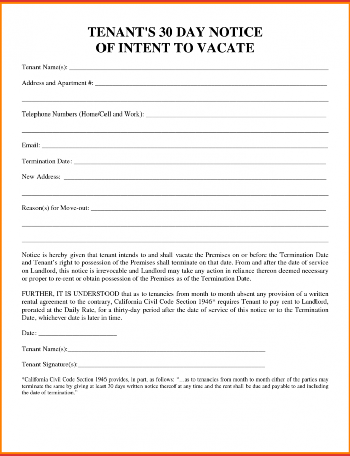 Best Of 30 Day Notice To Tenant Template  Job Latter Landlord 30 Day Notice Template Sample