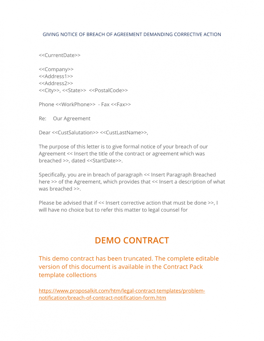 breach of contract notification form  3 easy steps notice of breach of contract template example