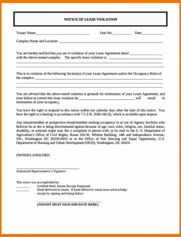 Costume 1011 Notice Of Lease Violation Letter  Mysafetgloves Notice Of Violation Template Doc