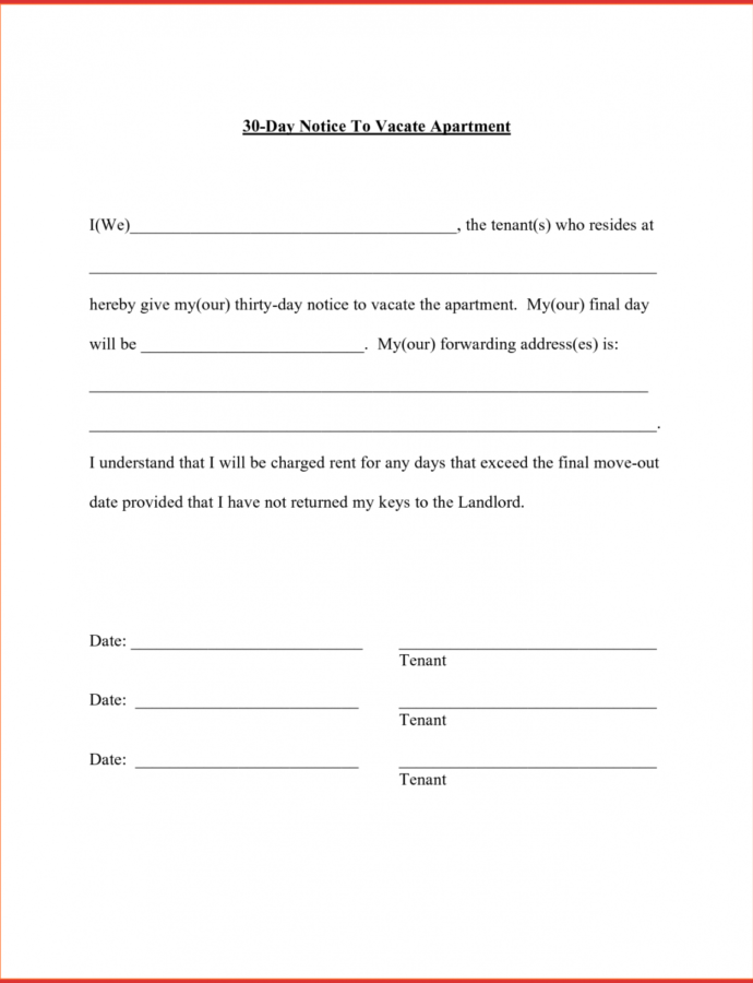 Costume 30 Day Moving Notice  Magdaleneproject Template For 30 Day Notice By Tenant