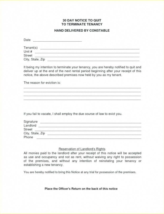 Costume 30 Day Notice Letter To Landlord  Giftedpaperco Landlord 30 Day Notice Template Word