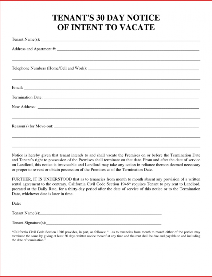 Costume 30 Day Notice Letter To Tenant From Landlord  Magdalene 30 Day Notice To Vacate Landlord To Tenant Template Example